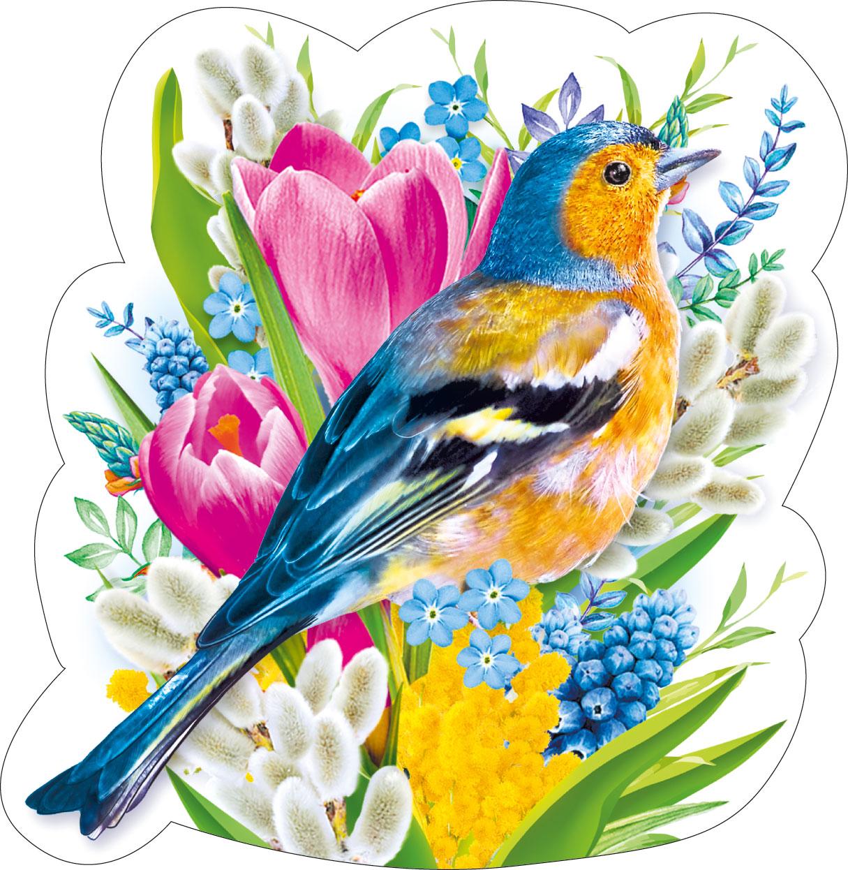 открытка с птичками на 8 марта